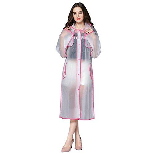 Rose À Femmes Eva Transparent Mode Randonnée La Plein Air Longue Raincoat Hzjundasi De Portable Vêtements Poncho Encapuchonné Imperméable Pluie Sports q5IdHt