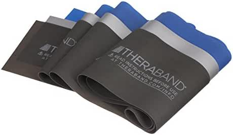 TheraBand Professional Non-Latex Resistance Bands For Rehabilitation, Portable Fitness and Workout, Home Exercise, Blue & Black & Silver, Advanced Set