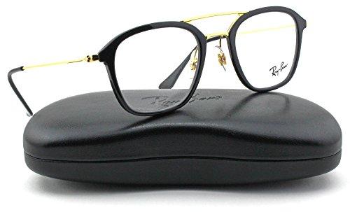 Ray-Ban RX7098 Square Unisex Eyeglasses (Shiny Black Frame 2000, - Eyeglasses Ray Unisex Ban