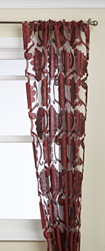 Regal Home Collections Milawi Sheer Jacquard Scroll Rod Pocket Window Panel, 54 by 84-Inch, Brick (Regal Collection Curtain Rod)