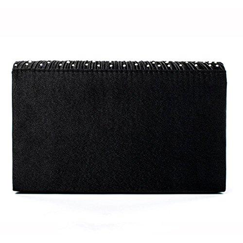 Women Evening Party Black studded For Wedding Handbags Bag Satin Evening Rhinestone wEU1Rv