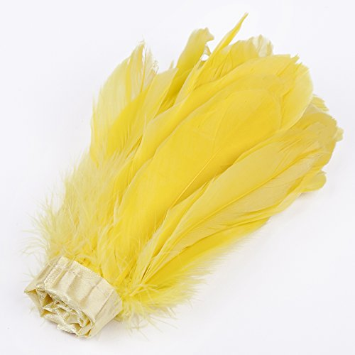 Neotrims REAL Goose Feathers Plume Trimming Fringe 15-18 cms on Satin Ribbon, 13 Stunning Colours, Home Décor, Apparel Border, Fancy Dress, Costume Daffodil Yellow 1 Yard
