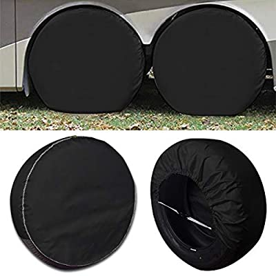 Tire Covers 4 Pack,Set of 4 Wheel Tire Covers for RV Auto Truck Car Camper Trailer,Waterproof Sun-Proof Weatherproof Tire Protectors(Fits 27-29 Inch,Black): Automotive