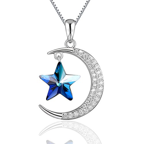 Blue Moon Goddess Costume (Moon and Star Neckalce PLATO H Star Moon Necklace 925 Sterling Silver Star & Moon Pendant Necklace with Swarovski Crystals Bithday Gifts, 18
