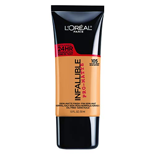 L'Oréal Paris Makeup Infallible Pro-Matte Liquid Longwear Foundation, 105 Natural Beige, 1 fl. oz.