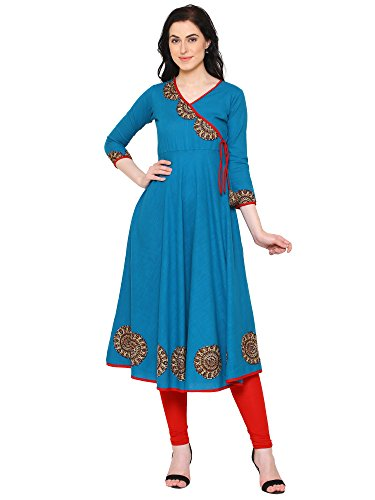 Yash Gallery Indian Tunic Tops Women's Cotton Slub Angrakha Style Anarkali Kurta (Firozi, XL) (Designer Suits Churidar)