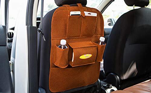 Wslcn Auto Organizer Filz Rückenlehnenschutz Autositz Organizer Multifunktional Rücksitzorganizer Utensilientaschen Rücksitztasche Universal Braun 40 56cm Baby