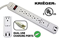KRIËGER® KR62USB - Surge protector Strip Dual 2.1amp total USB Charging ports 6 Outlet 6-Foot Cord 990 Joule 120V