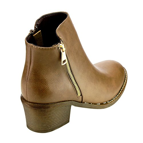 Ankle Blocked Pama Women's Booties 02 Heels Reneeze Khaki 8tXqAaw