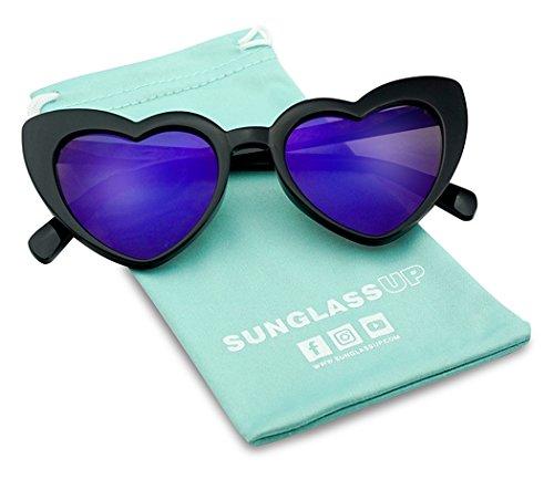 Oversized Heart-Shaped Round Colorful Flat Mirror Lens Love Sun Glasses (Black Frame, Violet) ()