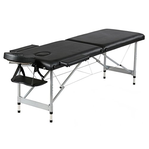 Black 2 Sections Folding Portable Beauty Massage Table Adjustable Height Bed w/ Aluminum Leg & Palm Rests by FDInspiration