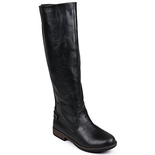 Journee Collection Womens Stretch Knee-High Wide Calf Riding Boots Black, 8 Wide Calf US