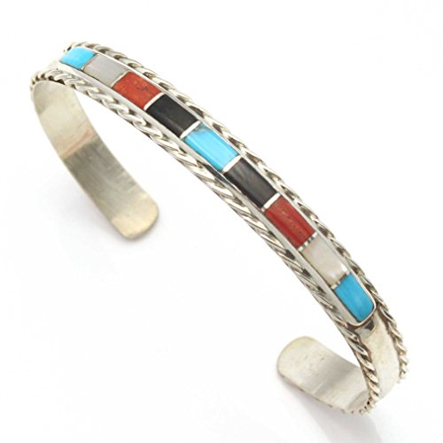 Sterling Channel Inlay - L7 Enterprises Zuni Channel Inlay Turquoise & Shell Multi Color Bracelet