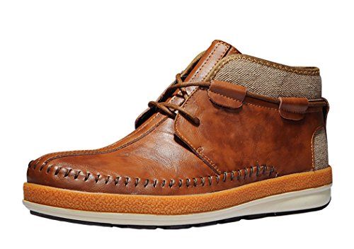 Serene Mens Christmas Brown Leather Fur Lining Sewing Lace-up Chukka Boots - 11 M US (Mens Renaissance Boots)