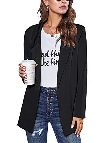 luvamia Women's Casual Open Front Blazer Shirt Roll Up Sleeve Loose Jacket Blazers