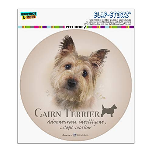 Graphics and More Cairn Terrier Dog Breed Automotive Car Window Locker Circle Bumper Sticker