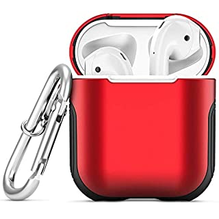 Airpods Case, Heavy Duty Hybrid 2 in 1 Shockproof Full Protective Case Hard PC+Soft Rubber Silicone Skin Cover Accessories Kits for Airpods 1/Airpods 2 (Not for Wireless Charging Case) (Red)