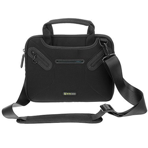 Evecase Multi-functional Carrying Messenger Case with Handle and Shoulder Strap for 8.9-9.7 Inch Laptops - Black