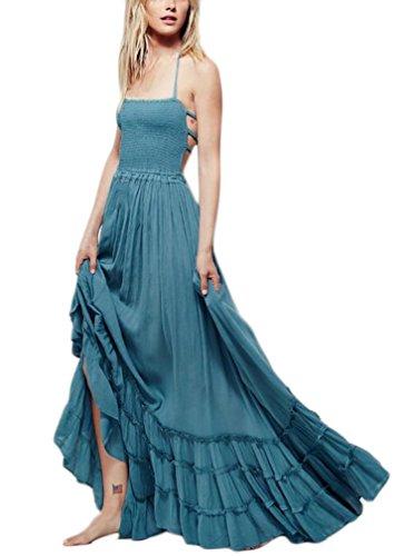 Mujer Vestidos Vestidos Largos De Verano Sin Mangas Hombro Descubierto Espalda Descubierta A-Line Swing Moda Casual Dulce Lindo Chic Hippie Boho Vestido Verano Vestido Playa Azul