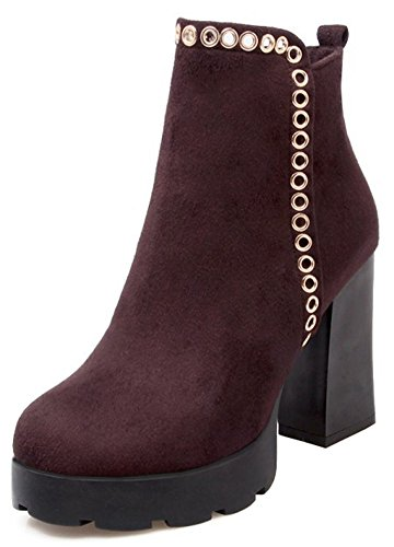 Easemax Women's Fashion Faux Suede Chunky High Heel Round Toe Zip Up Platform Ankle Boots Brown Zv1sglh