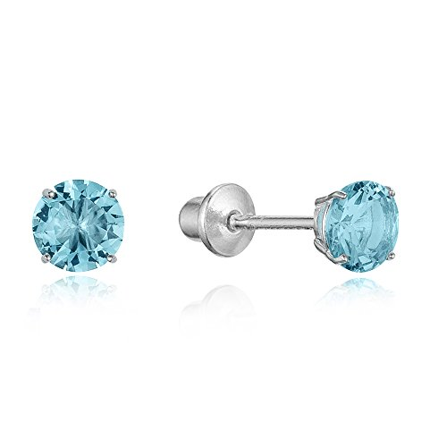 925 Sterling Silver Rhodium Plated 4mm Cubic Zirconia Stud Screwback Baby Girls Earrings 925 Sterling Silver Value