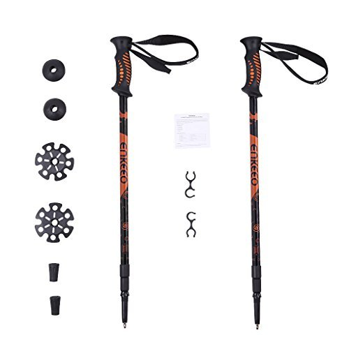 Enkeeo 2 Pack Hiking Walking Trekking Poles Ultralight Collapsible Trail Walking Stick with Durable Aluminum, Anti Shock & Quick Lock Technology (Black and Orange, 1 Pair)
