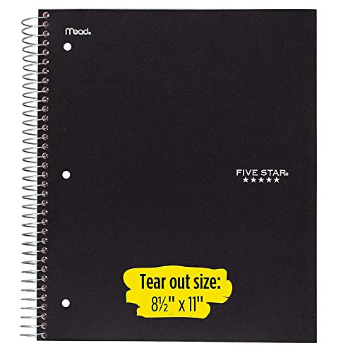 "Five Star Spiral Notebooks, 1 Subject, College Ruled Paper, 100 Sheets, 11"" x 8-1/2"", Black, White, Red, 3 Pack (73055)"