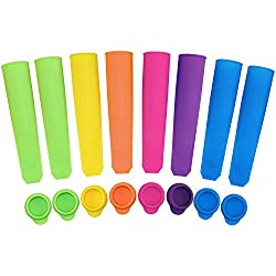 Ouddy Silicone Ice Pop Molds, Durable Popsicle Molds with Attached Lids, Multi Colors - Set of 8
