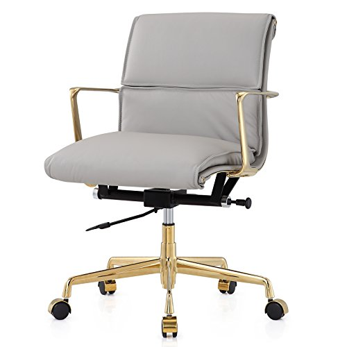 Meelano 347-GD-GRY Office Chair In Italian Leather, ()