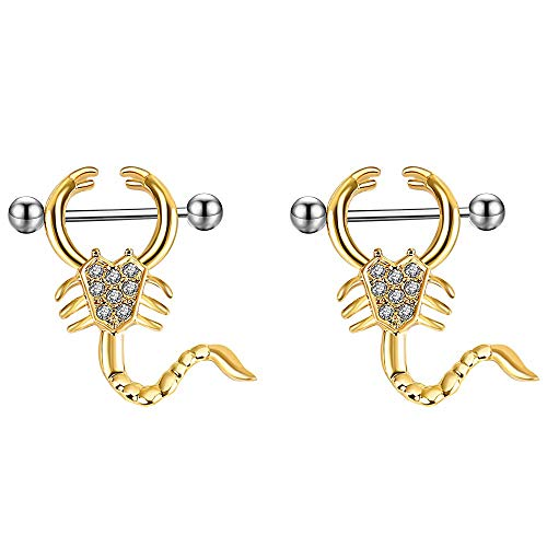 (HuayoRong 2Pcs 14G Gold Nipple Ring Scorpion Shape Surgical Steel Women Piercing Body Jewelry)