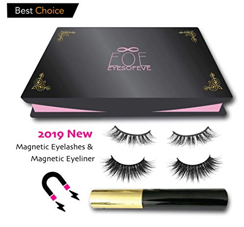 Magnetic Eyelashes Magnetic Eyeliner [by EOE] Upgraded 2019 liquid eyeliner, No Glue, False Magnet Lashes, Natural & reusable eyelashes Easy application!