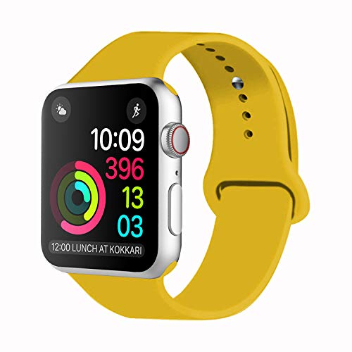 Idon Sport Watch Band, Soft Silicone Replacement Sports Band Compatible with Smart Watch Band 2018 Series 4/3/2/1 38MM 40MM 42MM 44MM for Smart Watch All Models(Yellow,38MM M/L)