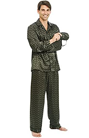 Del Rossa Mens Satin Pajamas, Long Button-Down Pj Set, Small Black Paisley (A0752P48SM)