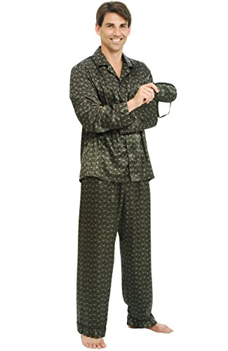 Mens Silk Pant - Alexander Del Rossa Mens Satin Pajamas, Long Button-Down Pj Set, XL Black Paisley (A0752P48XL)