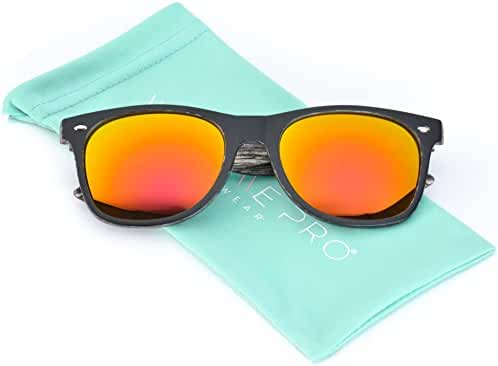 Faux Wood Reflective Revo Color Lens Horn Rimmed Sunglasses