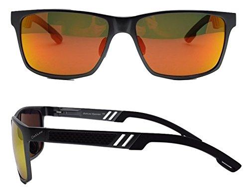 Outlaw Eyewear OutLaw Eyewear Wayfarer Mg, Polarized, Black/Orange - Eyewear Outlaw