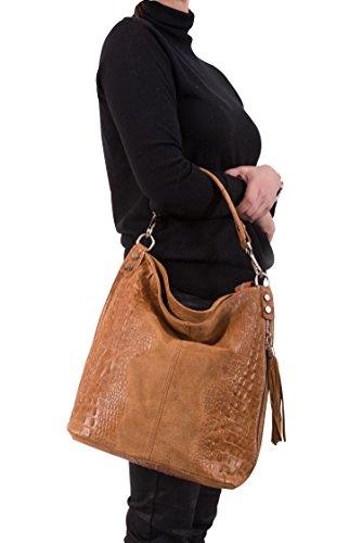 bolso Italy 2107 mujer croco de de bolso Caramelo Mod Shopper cuero hombro f6TqwC