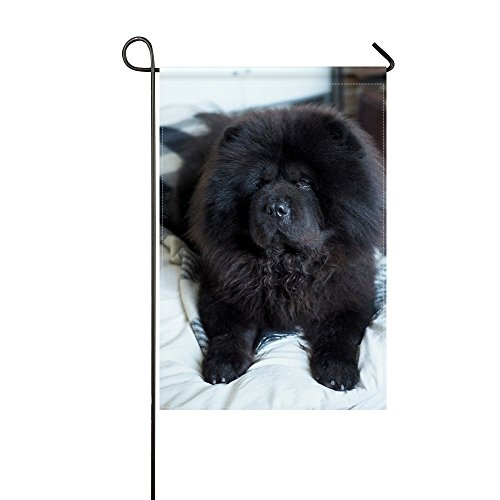 WBSNDB Garden Flag Animal Dog Chow Chow Black Fluffy Adorable Puppy Pet 12x18 Inches(without Flagpole) ()