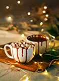 White Porcelain Jumbo Coffee Mugs Set of 4-16 Ounce Cups with Handle for Hot or Cold Drinks like Cocoa, Milk, Tea or Water - Smooth Ceramic with Modern Design