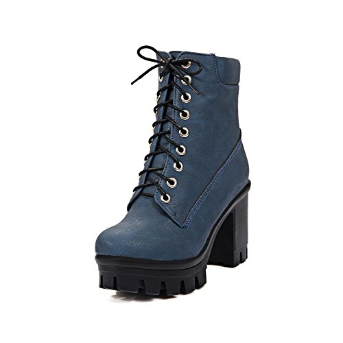 Allhqfashion Womens High Heels Solide Ronde Closed-up Veterboots, Blauw, 35
