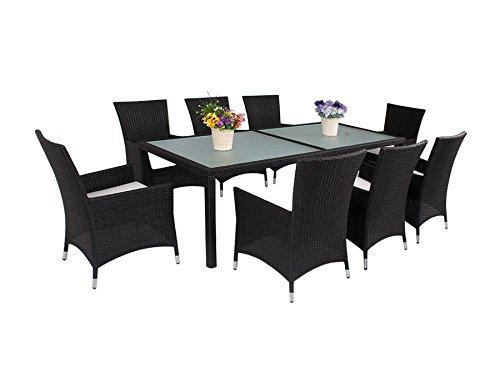 9-Piece Luxury Wicker Patio Indoor Outdoor Dinner Table Furniture set
