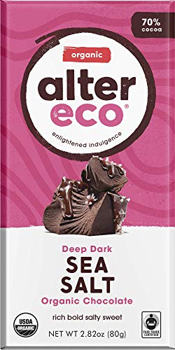 - Alter Eco | Deep Sea Salt | 70% Pure Dark Cocoa, Fair Trade, Organic, Non-GMO, Gluten-Free Dark Chocolate Bar, 12 Bars