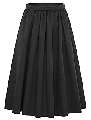 Women's Simple Back Elastic Waist A-Line Flared Midi Skirts-Pocket