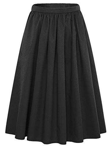 Chouyatou Women's Simple Back Elastic Waist A-Line Flared Midi Skirts-Pocket (Medium, (Classic Elastic Waist Skirt)