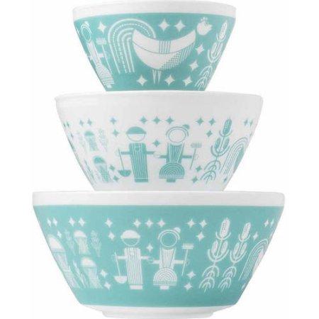 Pyrex Vintage Microwave Freezer Safe 3-Piece Glass Mixing Bowl Set,