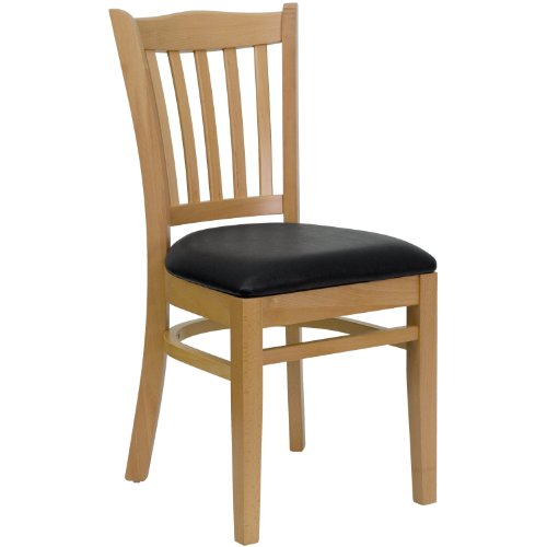 MFO Natural Wood Finished Vertical Slat Back Wooden Restaurant Chair - Black Vinyl Seat
