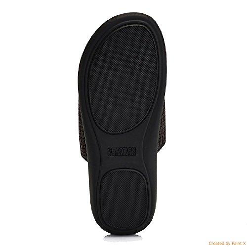 Kenneth Cole Reaction Hombres Velcro Banda Deslizante Ajustable Sandalias, Gris Oscuro (8)