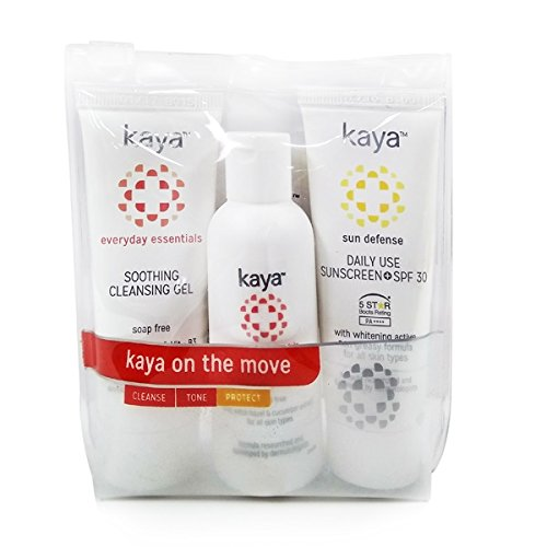 Kaya Clinic On The Move Kit, 3 Step Travel Friendly Kit With A Cleansing Gel / Face wash + Alcohol free daily Toner…