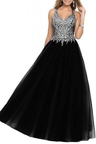 SDRESS Women's Beaded Rhinestones Illusion Bodice A-line Halter Prom Homecoming Dress Black Size 12 Black Beaded Halter