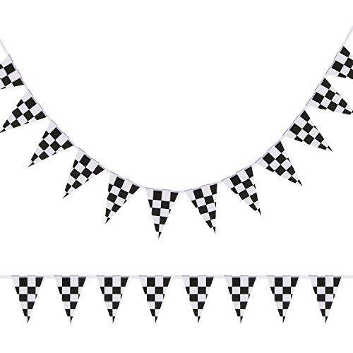 LOLOAJOY Black White Checkered Pennant Banner Racing Flag Party Flag Banner Accessory for Race Car Party Decor Birthday Party Decoration (black and white) for $<!--$6.89-->